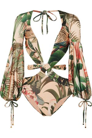 PatBO | Paradise printed cutout swimsuit | NET-A-PORTER.COM