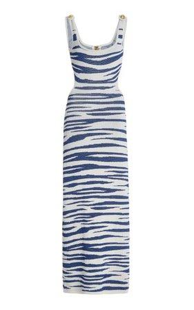 Cutout Zebra-Knit Maxi Dress By Dundas | Moda Operandi