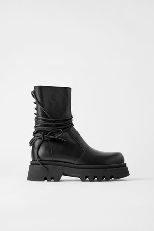LACED LEATHER ANKLE BOOTS WITH LUG SOLES | ZARA United States black