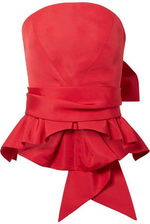 Brandon Maxwell - Bow-detailed Silk-twill Bustier Top - Red