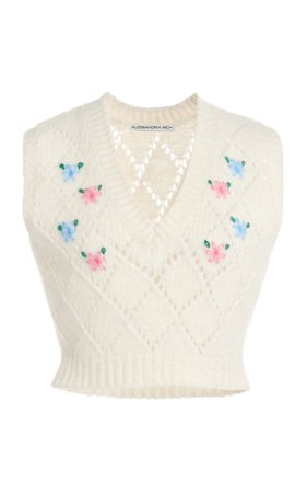 Alessandra Rich Knitted Wool Vest With Floral Details