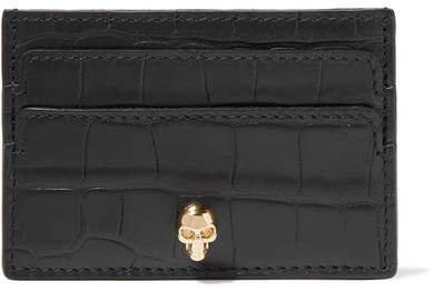 Croc-effect Leather Cardholder - Black