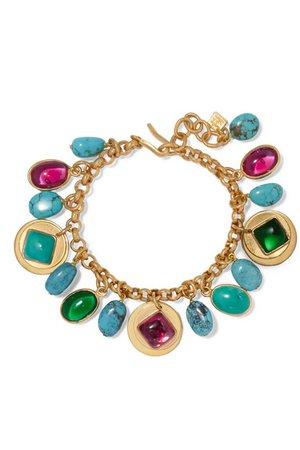 Loulou de la Falaise | Gold-plated, turquoise and glass bracelet | NET-A-PORTER.COM