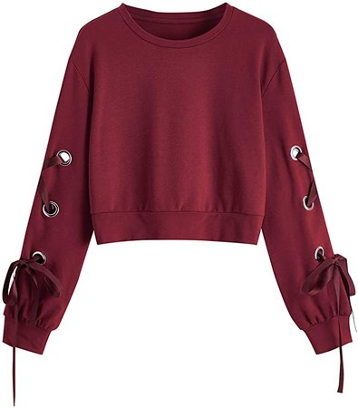 SweatyRocks Women's Casual Lace Up Long Sleeve Pullover Crop Top Sweatshirts Burgundy