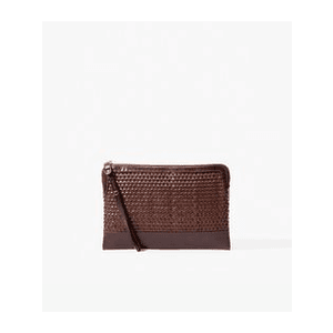 Massimo Dutti Woven Leather Clutch (Brown)