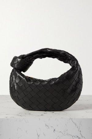 Jodie Mini Knotted Intrecciato Leather Tote - Black