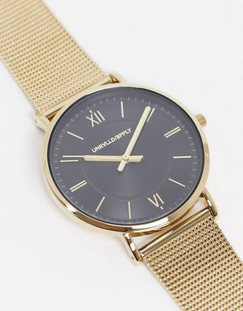 ASOS DESIGN stainless steel mesh watch in gold tone | ASOS