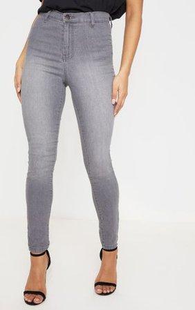 Grey Disco Fit Skinny Jean | Denim | PrettyLittleThing