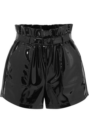 SAINT LAURENT | Belted patent-leather shorts | NET-A-PORTER.COM