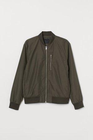 Chamarra bomber con nylon - Verde caqui oscuro - Men   H&M MX