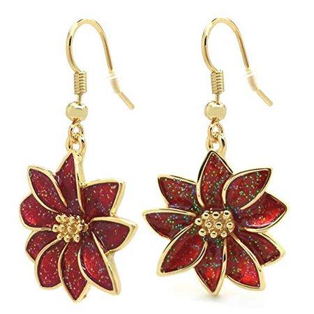 Poinsettia Christmas Dangle Earrings Flower Red Enamel Hook Gold Plated Women Fashion: Jewelry