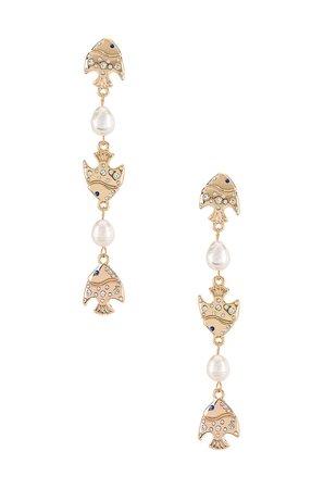 Ettika Pearl Drop Earrings in Gold | REVOLVE