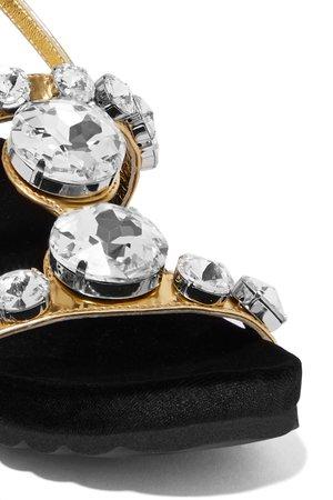 Gold Crystal-embellished metallic leather sandals | Miu Miu | NET-A-PORTER