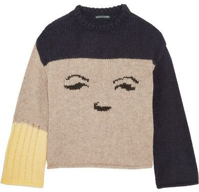 ALEXACHUNG - Intarsia Knitted Sweater