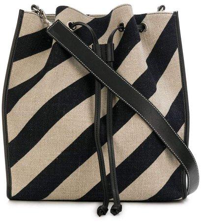 striped drawstring bucket bag