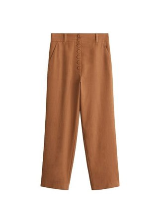MANGO Buttoned soft fabric trousers