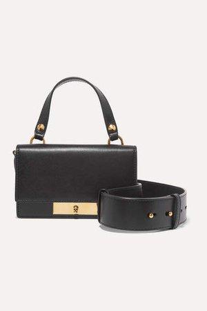 Small Leather Shoulder Bag - Black