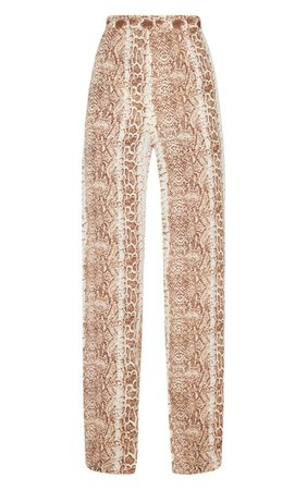Brown Snake Print Wide Leg Pants | Pants | PrettyLittleThing USA