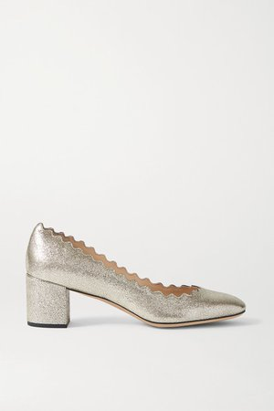 Lauren Scalloped Metallic Cracked-leather Pumps - Silver