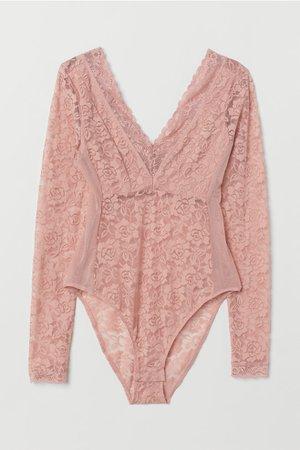 Long-sleeved Lace Bodysuit - Vintage pink - | H&M CA