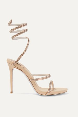 Metallic Cleo crystal-embellished leather sandals | René Caovilla | NET-A-PORTER