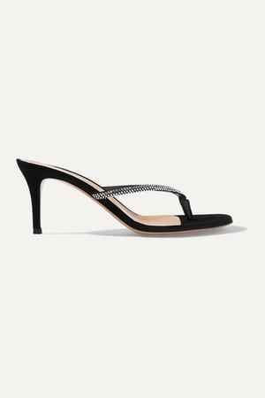 Calypso 70 Crystal-embellished Suede Sandals - Black