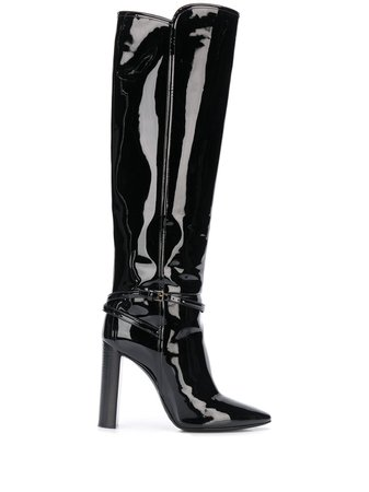 Saint Laurent Patent Leather Boots - Farfetch