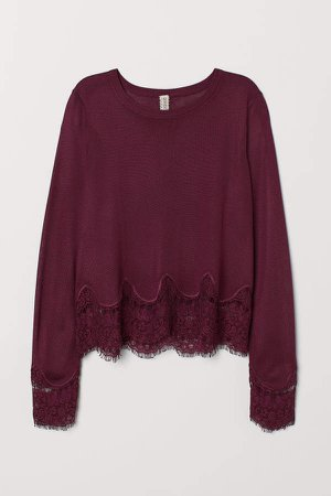 Sweater with Lace Details - Red