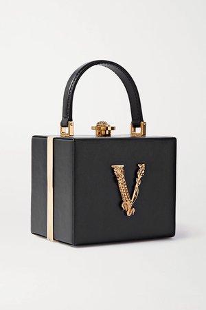 Black Virtus embellished leather tote   Versace   NET-A-PORTER