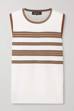 Striped Silk And Cotton-blend Tank - Off-white