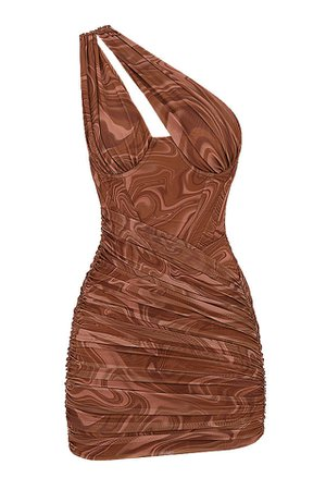Clothing : Bodycon Dresses : 'Clementine' Swirl Print Cut Out Mini Dress