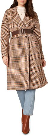 Patsy Belted Houndstooth Coat