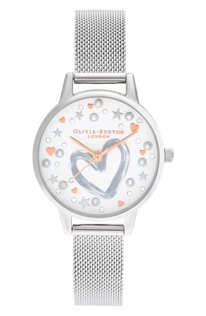 Olivia Burton You Have My Heart Mesh Strap Watch, 30mm | Nordstrom