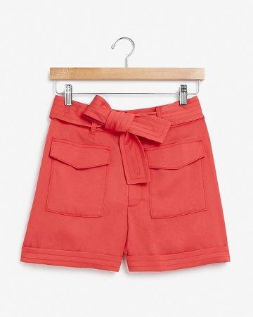 Super High Waisted Belted Patch Pocket Shorts