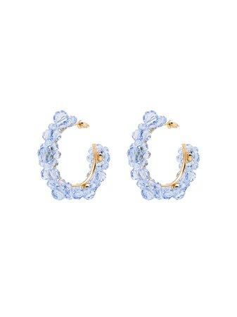 Simone Rocha Flower Hoop Earrings ERG1650903CRYSTAL Blue | Farfetch