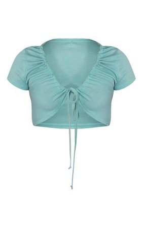 Aqua Rib Drawstring Neck Tie Crop Top | Tops | PrettyLittleThing