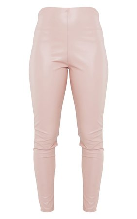 Pink Basic Faux Leather High Waist Leggings - New In   PrettyLittleThing USA