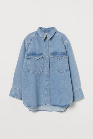 Oversized Denim Shirt - Blue