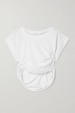 White Joseph cropped gathered cotton-blend jersey T-shirt | The Line By K | NET-A-PORTER