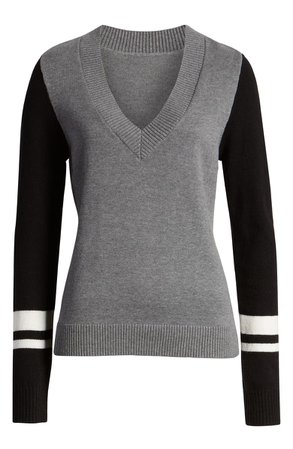 Treasure & Bond Stripe V-Neck Sweater grey