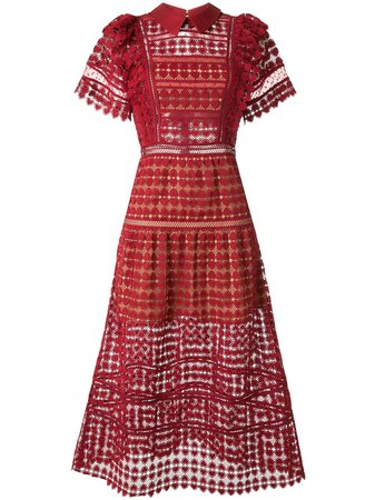 Self-Portrait Crochet Midi Dress RS20090M Red | Farfetch