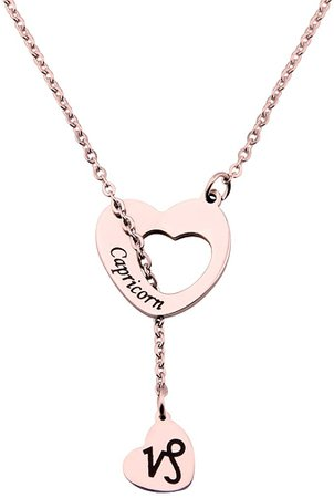 Amazon.com: ENSIANTH Rose Gold Zodiac Signs Heart Necklace Stainless Steel Lariat Y Necklace Best Birthday Gift (Gemini): Clothing