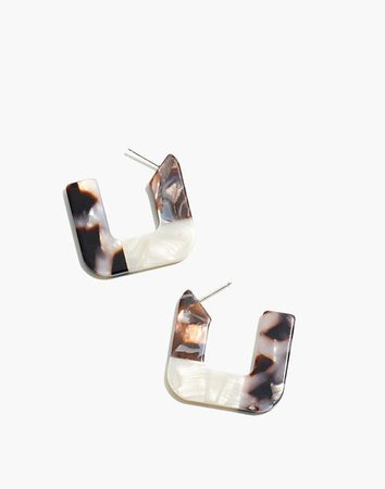 Resin Colorblock Square Hoop Earrings white