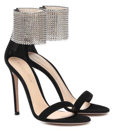 GIANVITO ROSSI Black Embellished Heels