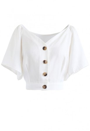 Horn Button Sweetheart Neck Bowknot Crop Top in White - NEW ARRIVALS - Retro, Indie and Unique Fashion