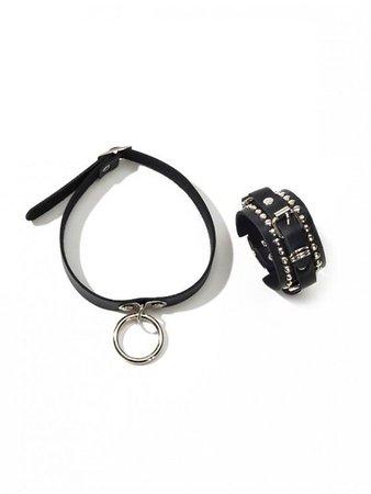 [48% OFF] 2020 Punk PU Ring Choker Rivet Bracelet Set In BLACK | ZAFUL