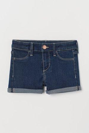 Denim Shorts - Dark denim blue -   H&M US
