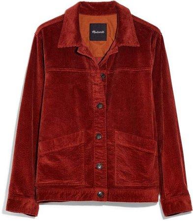 corduroy jacket red