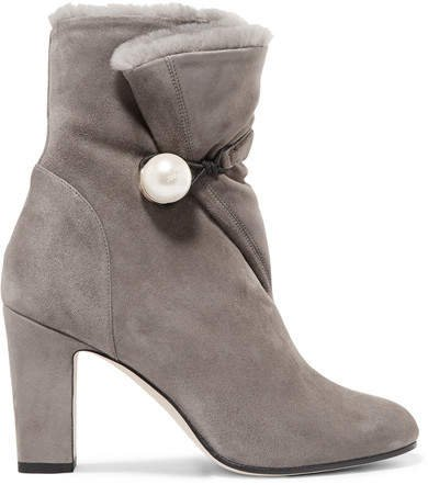 Bethanie 85 Shearling-lined Suede Ankle Boots - Dark gray