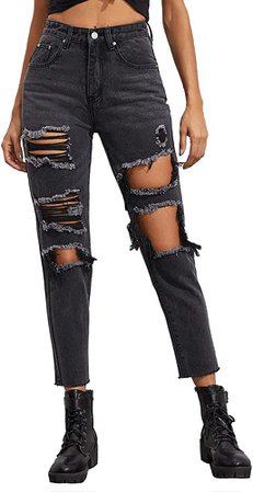 SOLY HUX Women's Casual Ripped Jeans High Waisted Denim Pants Black L at Amazon Women's Jeans store